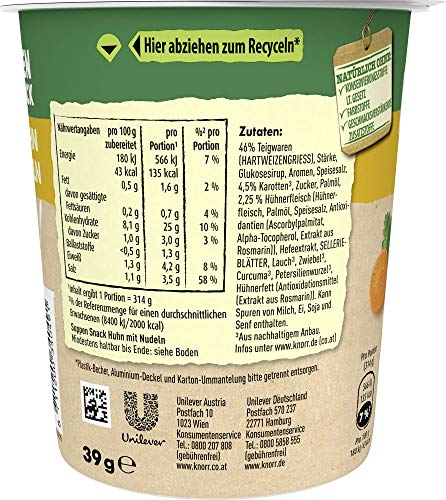 Knorr Suppen Snack Huhn mit Nudeln, 39 g - 2