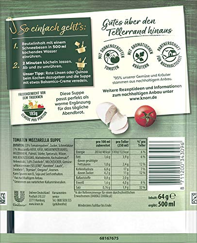 Knorr Feinschmecker Tomaten Mozzarella Suppe, 2 Teller, 9er Pack - 2