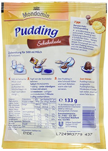 Mondamin Pudding Schokolade 3 Portionen, 13er Pack (13 x 133 gm) - 3