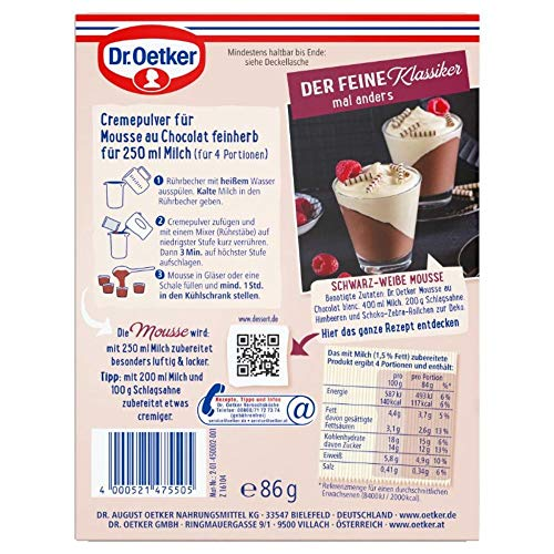 Dr. Oetker Mousse Au Chocolat Fein Herb, 86 g Packung - 2
