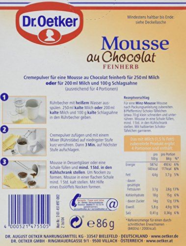 Dr. Oetker Mousse Au Chocolat Fein Herb, 86 g Packung - 5