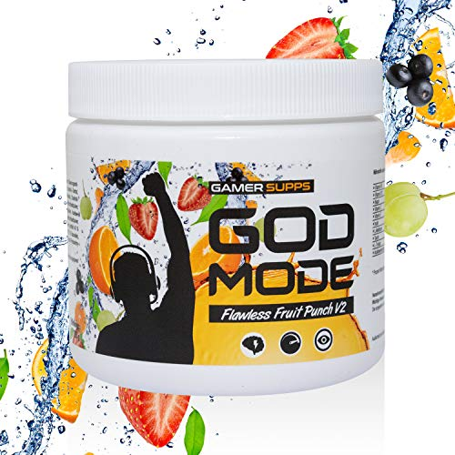 GAMER SUPPS God Mode Gaming Booster, der eSports Engery Drink für Gamer, Multivitamin Amino Getränk, wenig Kalorien und wenig Zucker, 280g = 40 Portionen