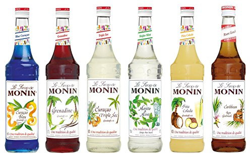 "Monin Cocktail Set (6 x 0.7l Flaschen: Curacao Blue, Curacao Triple Sec, Grenadine, Mojito Mint, Pina Colada, Rum ""Caribbean"")"