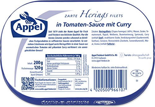 Appel Heringsfilets Tomate & Curry, 10er Pack Konserven, Fisch in Tomatensauce mit Curry - 2