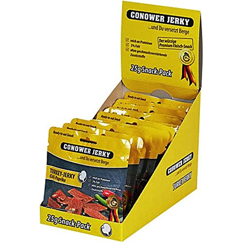 Conower Turkey Jerky - Chilli & Paprika - Display 12 x 25g