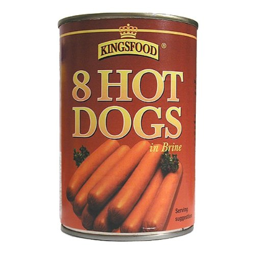 Kingsfood 8 Hot Dogs In Salzlake 400g (Packung mit 12 x 400g)