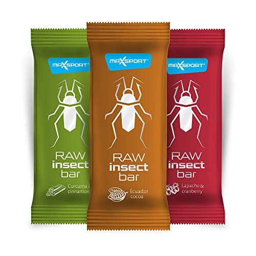 Maxsport Nutrition Roh Insekten Riegel - Raw Insect Riegel, Power Riegel, High Fibre, Dairy Free Energie Riegel - 20 x 40g