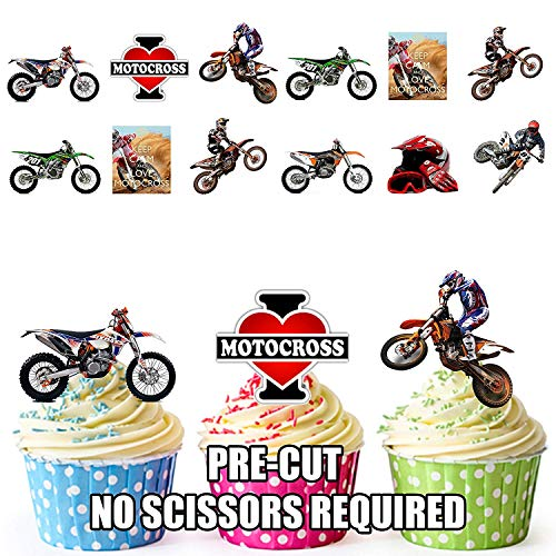 Motocross Motorrad Mix Party Pack 36 Esspapier Cup Cake Topper Dekoration
