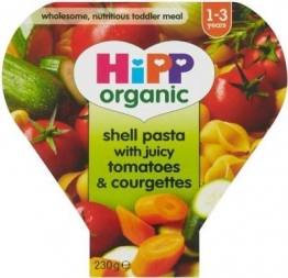 6 x Hipp Organic Shell Pasta with Juicy Tomatoes & Courgettes 1-3yrs (230g)