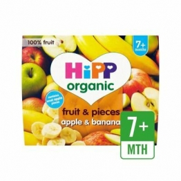 Hipp Organic Fruit & Pieces Apple & Banana 4 X 100g (Pack of 6)