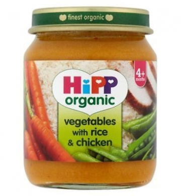 Hipp Organic Vegetables With Rice & Chicken 4+ Months 125g (Pack of 2)