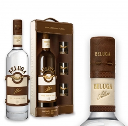 EXKLUSIV Beluga Allure Super-Premium Vodka 40% 0,7l in Ledertasche + 3 Gläser