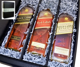 Geschenkkarton mit 3 Flaschen Johnnie Walker Whisky Black+Red+Gold 0,7l 40% Set
